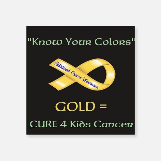 "Know your colors -GOLD = Cu Square Sticker 3"" x 3"""
