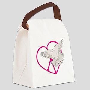 dark peace heart dove Canvas Lunch Bag