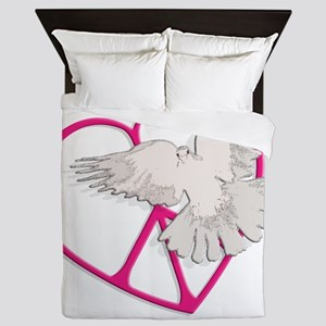 dark peace heart dove Queen Duvet