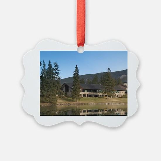 Jasper Park Lodge from Lake Beauv Ornament