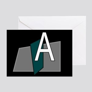 """""""A"""" Teal Block Greeting Cards (Pk of 10)"""