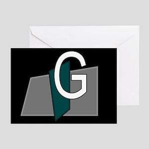 """G"" Teal Block Greeting Cards (Pk of 10)"
