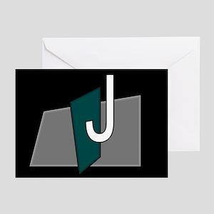 """J"" Teal Block Greeting Cards (Pk of 10)"