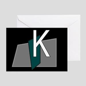 """K"" Teal Block Greeting Cards (Pk of 10)"