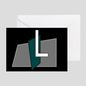 """L"" Teal Block Greeting Cards (Pk of 10)"