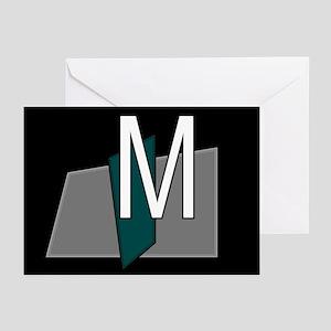 """M"" Teal Block Greeting Cards (Pk of 10)"
