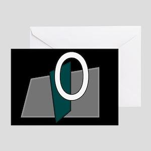 """O"" Teal Block Greeting Cards (Pk of 10)"