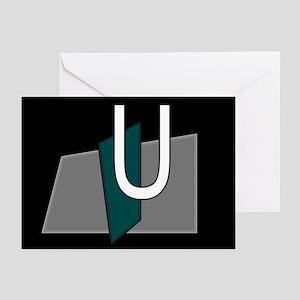 """U"" Teal Block Greeting Cards (Pk of 10)"