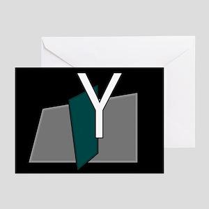 """""""Y"""" Teal Block Greeting Cards (Pk of 10)"""