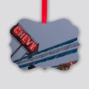 Chevy Car Dealer Neon Sign Old St Picture Ornament