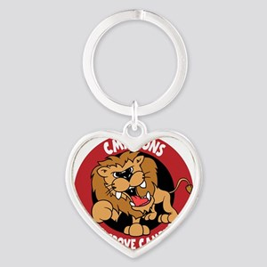LION, colored, white Heart Keychain