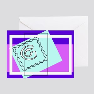 """""""G"""" Squiggly Square Greeting Cards (Pk of 10)"""