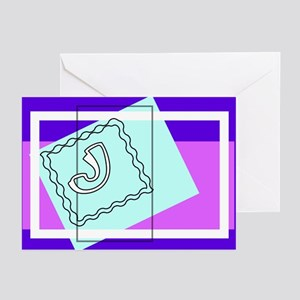 """""""J"""" Squiggly Square Greeting Cards (Pk of 10)"""