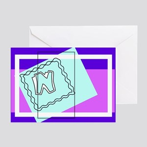 """""""N"""" Squiggly Square Greeting Cards (Pk of 10)"""