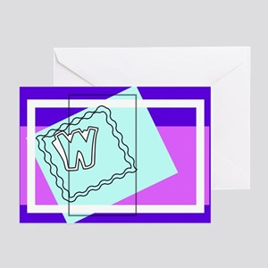 """""""W"""" Squiggly Square Greeting Cards (Pk of 10)"""