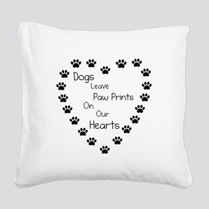 Dogs Leave Paw Prints 10 x 10 Square Canvas Pillow