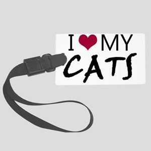 I heart my cats Large Luggage Tag