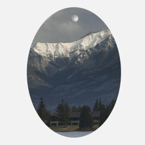 Lake Beauvert Indian Canoes /Jasper  Oval Ornament