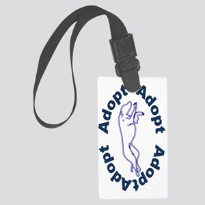Adopt In Blue Large Luggage Tag