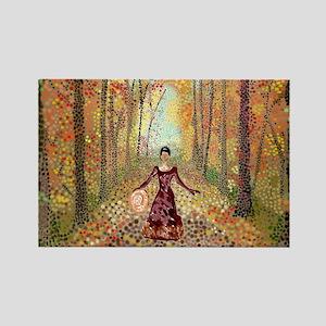 Lady Autumn (300 DPI, w sig) Rectangle Magnet