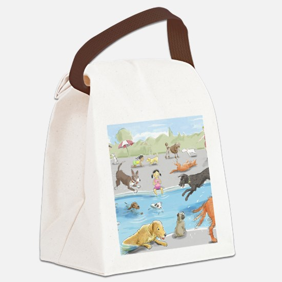 dog_pool_9X12_crp Canvas Lunch Bag