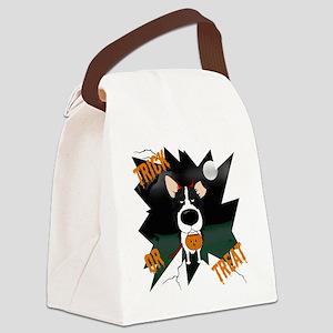 BorderCollieHalloweenShirt Canvas Lunch Bag