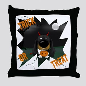 BlackDoxieHalloweenShirt1 Throw Pillow