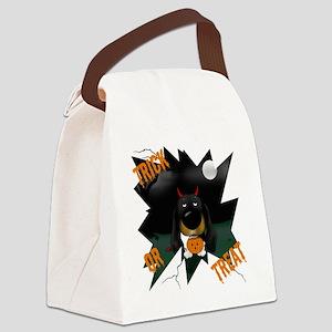 BlackDoxieHalloweenShirt1 Canvas Lunch Bag