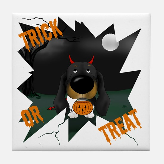 BlackDoxieHalloweenShirt1 Tile Coaster