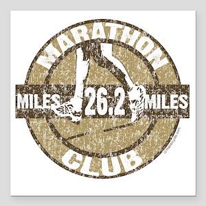 "Marathon Club brown Square Car Magnet 3"" x 3"""
