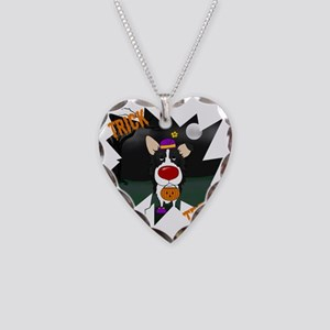 BorderCollieHalloweenShirt2 Necklace Heart Charm