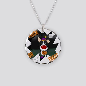 BorderCollieHalloweenShirt2 Necklace Circle Charm