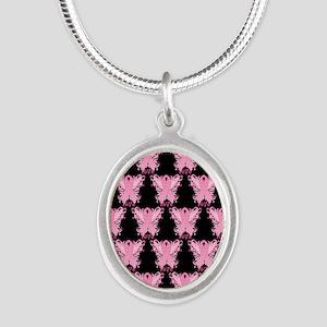 PinkRibWingsLPb460ip Silver Oval Necklace