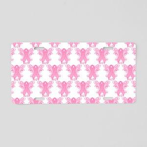 PinkRibbonWingsLoveHtr Aluminum License Plate