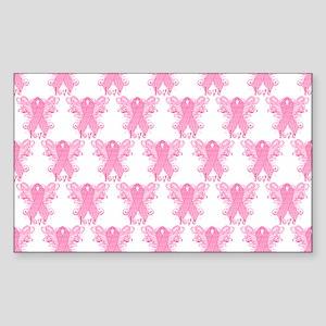 PinkRibbonWingsLoveHtr Sticker (Rectangle)