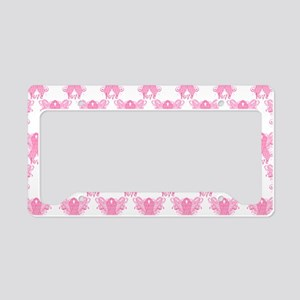 PinkRibbonWingsLoveHtr License Plate Holder