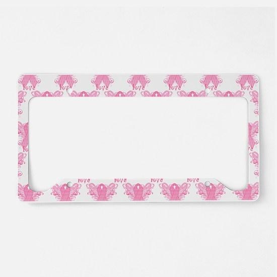 PinkRibbonWingsLoveHtr License Plate Holder
