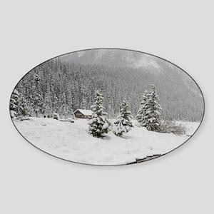 Winter views around Lake Louisearim Sticker (Oval)