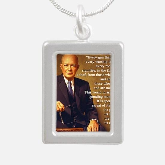Eisenhower Every Gun 1 Silver Portrait Necklace