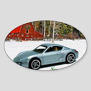 Hot Wheels_Porsche Cayman S_Silver_ Sticker (Oval)