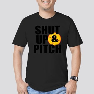 shut up and pitch Men's Fitted T-Shirt (dark)