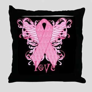 PinkRibWingsLbMiniW Throw Pillow