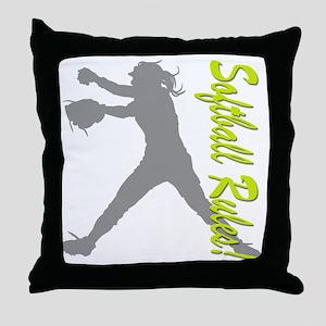 softball rules a Throw Pillow