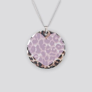 Leopard Print Pink Heart Necklace Circle Charm