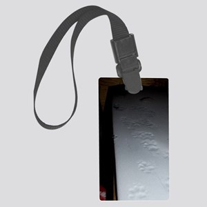 tracks on snow inside of one of  Large Luggage Tag