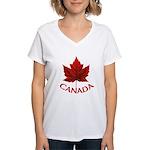 Canada Maple Leaf Souvenir Women's V-Neck T-Shirt