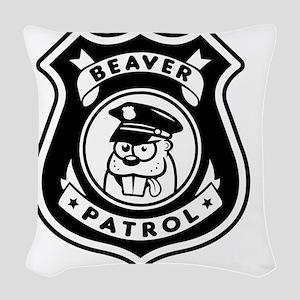 Beaver Patrol Woven Throw Pillow