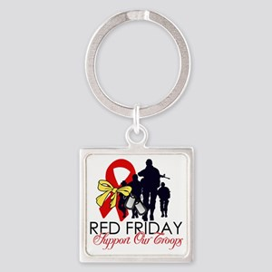 SupportRedFridays23 Square Keychain