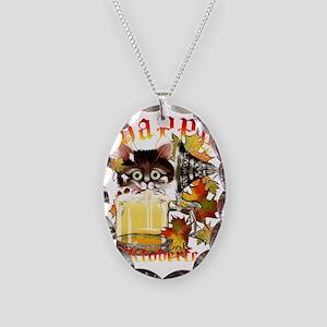 Happy Oktoberfest Beer Kitty T Necklace Oval Charm