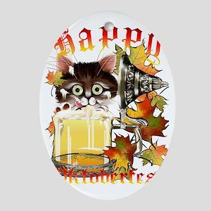 Happy Oktoberfest Beer Kitty Trans Oval Ornament